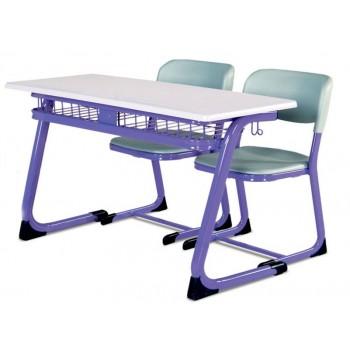 Werzalit tablalı,25x50x1,5 oval profil,tel raflı masa. ''C'' tipi ayak,20x40x1,5 oval profil,plastik oturaklı (PPC)